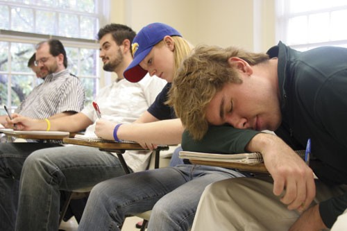 how to secretly fall asleep in class
